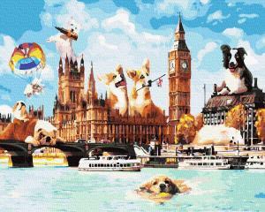 Фото Картины на холсте по номерам, Городской пейзаж KGX36785 Собаки в Лондоне Картина  по номерам на холсте 40х50см