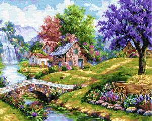 Фото Наборы для вышивания, Вышивка крестом с нанесенной схемой на конву, Пейзаж KGX38156 Сказочный сад  Картина  по номерам на холсте 40х50см