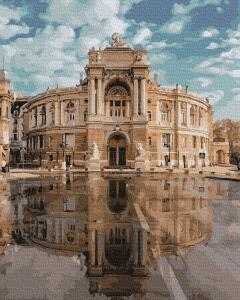 Фото Картины на холсте по номерам, Городской пейзаж KGX39128 Одесский театр оперы и балета Картина  по номерам на холсте 40х50см