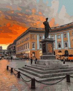 Фото Картины на холсте по номерам, Городской пейзаж KGX39131 Памятник дюку де Ришельё  Картина  по номерам на холсте 40х50см