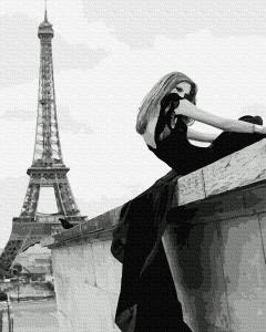 Фото Картины на холсте по номерам, Романтические картины. Люди KGX39161 Девушка у Эйфелевой Башни  Картина  по номерам на холсте 40х50см