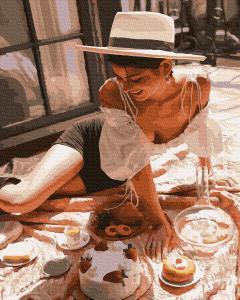 Фото Картины на холсте по номерам, Романтические картины. Люди KGX39165 Девушка на пикнике Картина  по номерам на холсте 40х50см