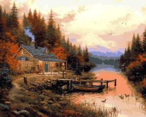 Фото Картины на холсте по номерам, Загородный дом Картина по номерам VP 1352 Домик для отдыха  40х50см