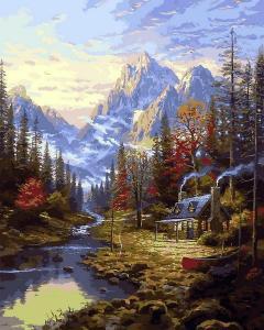 Фото Картины на холсте по номерам, Загородный дом Картина по номерам Изба в лесу Q 2249  40х50см