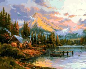 Фото Картины на холсте по номерам, Загородный дом Картина по номерам  Q 2250 Окончание прекрасного дня 40х50см