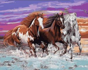 Фото Картины на холсте по номерам, Животные. Птицы. Рыбы... Картина по номерам  Q 2252 Дикие лошади 40х50см