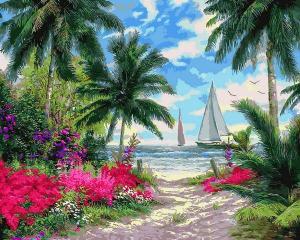 Фото Картины на холсте по номерам, Морской пейзаж Картина по номерам  Q 2253 Морской бриз 40х50см