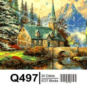 Фото  Картина по номерам Q497 Альпийский пейзаж. Часовня  40х50см