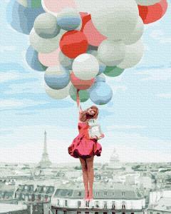 Фото Картины на холсте по номерам, Романтические картины. Люди KGX 39279 На шариках над Парижем Картина по номерам на холсте 40х50см