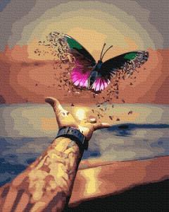 Фото Картины на холсте по номерам, Романтические картины. Люди KGX 39305 Разноцветная бабочка Картина по номерам на холсте 40х50см