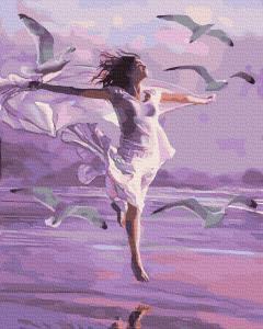 Фото Картины на холсте по номерам, Романтические картины. Люди KGX 39312  Полет с чайками Картина по номерам на холсте 40х50см