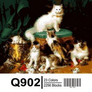 Фото  Картина по номерам Q902 Кошачье семейство  40х50см