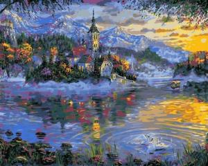 Фото  Картина по номерам Q2170 Альпийское озеро 40х50см