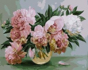 Фото Картины на холсте по номерам, Букеты, Цветы, Натюрморты KGX 39412 Розовые пионы Картина по номерам на холсте 40х50см