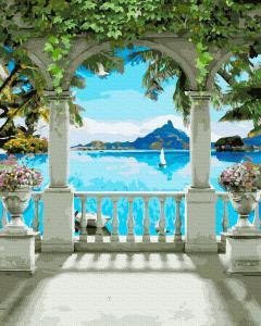 Фото Картины на холсте по номерам, Морской пейзаж KGX 39435 Арка у моря Картина по номерам на холсте 40х50см