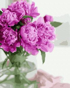 Фото Картины на холсте по номерам, Букеты, Цветы, Натюрморты KGX 39508 Утренние пионы Картина по номерам на холсте 40х50см