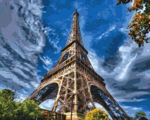 Фото Наборы для вышивания, Вышивка крестом с нанесенной схемой на конву, Пейзаж KGX 37682 Эйфелева башня Картина по номерам на холсте 40х50см