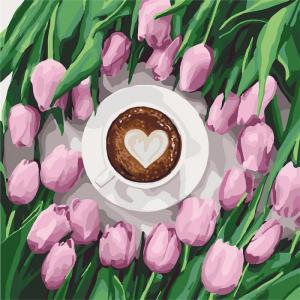 Фото Картины на холсте по номерам, Букеты, Цветы, Натюрморты KH 5561 Кофе для любимой Роспись по номерам на холсте 40х40см