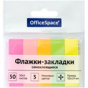 Фото Бумажная продукция (ЦЕНЫ БЕЗ НДС), Бумага для заметок, закладки (стикеры) Флажки-закладки OfficeSpace, 50*14мм, 50л*5 неоновых цветов, бумажные
