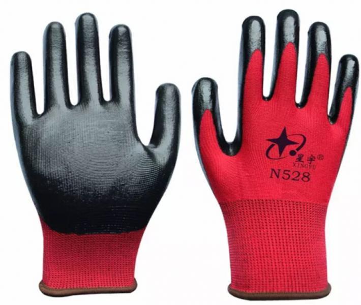 Перчатки трикотажные нейлоновые с нитриловым покрытием, ассорти
