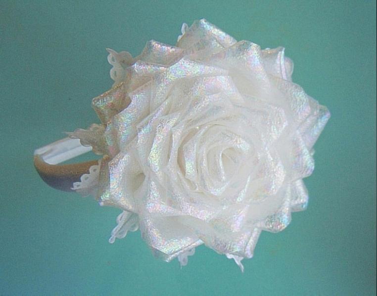 Фото Готовые изделия хенд мейд, Ободки. венки украинские хенд мейд Роза белая на ободке