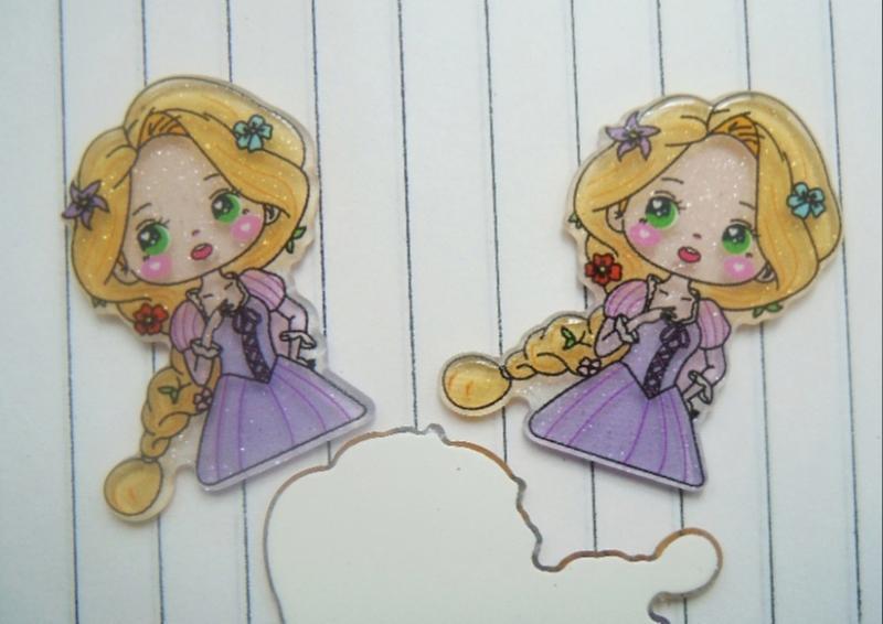 Фото Серединки ,кабашоны, Кабашоны детские мультики Пластиковая серединка 32 * 22 мм с акриловым блестящим покрытием , принцеса Рапунцель.