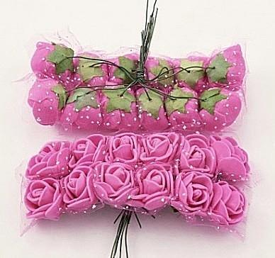 Фото Цветы искусственные, Розочки  латексные  в  ассортименте.  Роза латексная  2 - 2,2 см ,  Малиновая  с фатином.  Упаковка 12  розочек .