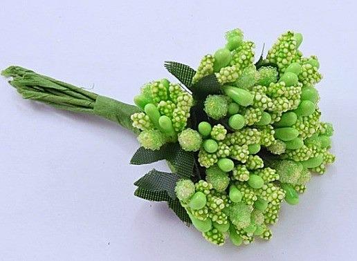 Фото Тычинки , добавки,ягодки Тычинки  на веточке  Салатово - зелёные .  Упаковка 12 веточек .