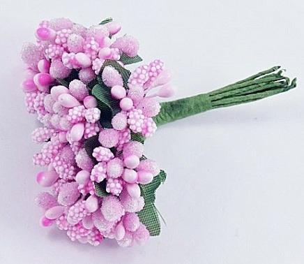 Фото Тычинки , добавки,ягодки Тычинки на веточке  Светло - Розовые .   Упаковка 12 веточек.