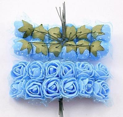 Фото Цветы искусственные, Розочки  латексные  в  ассортименте. Роза  латексная  2 -  2,2  см ,  Голубого  цвета  с  фатином.  Упаковка  12  розочек .
