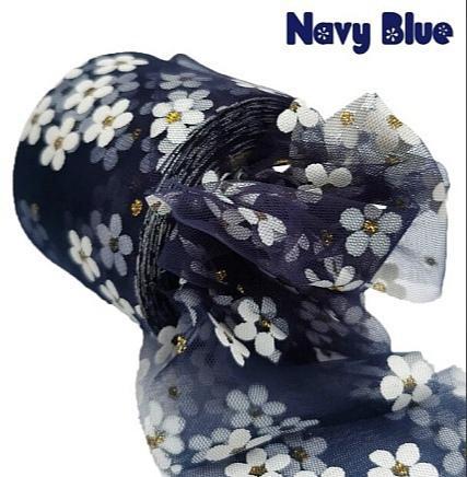 Фото Новинки Фатин тонкий , мягкий . Ширина 6 см. Тёмно - Синий в белых ромашках .