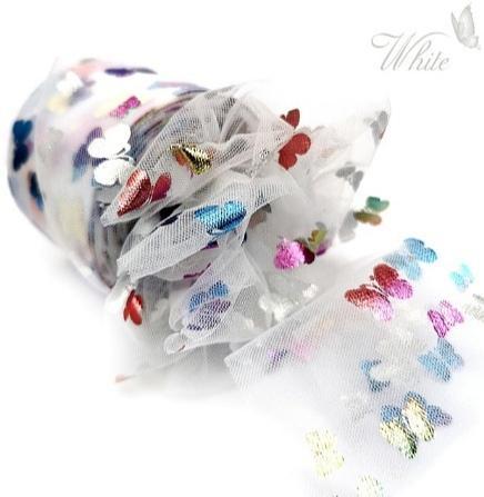 Фото Новинки Фатин тонкий , мягкий . Ширина 6 см. Белого цвета в цветных блестящих бабочках .