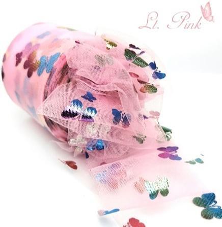Фото Фатин ,регилин ,лазерная лента Фатин тонкий , мягкий . Ширина 6 см. Розового цвета в цветных блестящих бабочках .