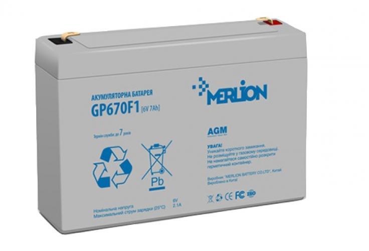 Фото Аккумуляторы для ИБП (UPS) Merlion GP670F1 6V 7Ah