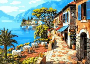 Фото Картины на холсте по номерам, Морской пейзаж Картина по номерам Babylon  Кафе у моря VP 016  50х40см в коробке