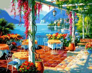 Фото Картины на холсте по номерам, Морской пейзаж Картина по номерам Babylon  Кафе на берегу VP 1304 40х50см в коробке