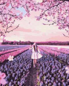 Фото Картины на холсте по номерам, Романтические картины. Люди KGX 38260 Прогулка по лавандовому полю Картина по номерам на холсте 40х50см
