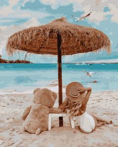 Фото Картины на холсте по номерам, Романтические картины. Люди KGX 38365 На пляже с мишкой Картина по номерам на холсте 40х50см