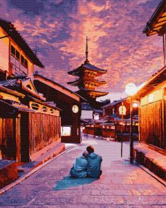 Фото Картины на холсте по номерам, Картины  в пакете (без коробки) 50х40см; 40х40см; 40х30см, Пейзаж, морской пейзаж. GX28891 Вечер в Киото Картина  по номерам на холсте 40х50см без коробки в пакете