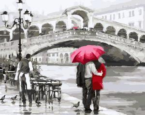 Фото Картины на холсте по номерам, Городской пейзаж Картина по номерам в коробке ArtStory Свидание в Венеции  40x50см (AS 0044)