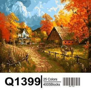 Фото  Q1399 Осень в деревне Роспись по номерам на холсте 40х50см