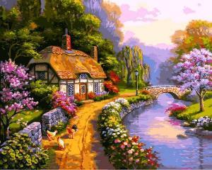 Фото Картины на холсте по номерам, Загородный дом Картина по номерам Babylon  Сельский домик   VP 1294  40х50см  в коробке