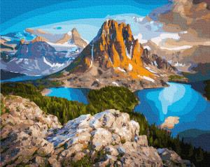 Фото Наборы для вышивания, Вышивка крестом с нанесенной схемой на конву, Пейзаж KGX 21610 Озера у скал горы Картина по номерам на холсте 40х50см