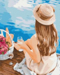 Фото Картины на холсте по номерам, Картины  в пакете (без коробки) 50х40см; 40х40см; 40х30см, Романтические картины. Люди. GX37554 Мечтательница в шляпе Картина  по номерам на холсте 40х50см без коробки в пакете