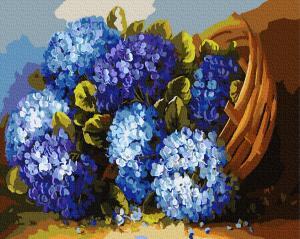 Фото Картины на холсте по номерам, Картины  в пакете (без коробки) 50х40см; 40х40см; 40х30см, Цветы, букеты, натюрморты GX8406 Синие цветы в корзине Картина  по номерам на холсте 40х50см без коробки в пакете
