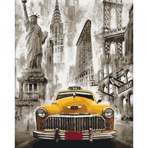 Фото Картины на холсте по номерам, Городской пейзаж Картина по номерам в коробке Идейка Такси Нью-Йорка 40х50см (KH 3506)