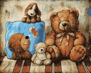 Фото Картины на холсте по номерам, Картины-раскраски по номерам (детские) Картина по номерам  в коробке ArtStory Плюшевые друзья 40x50см (AS 0212)