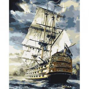 Фото Картины на холсте по номерам, Морской пейзаж Картина по номерам Идейка  Линкор KH 2710 40х50см в коробке