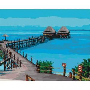 Фото Картины на холсте по номерам, Морской пейзаж Картина по номерам Идейка  Лагуна  KH 2228 40х50см в коробке