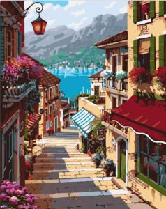 Фото Картины на холсте по номерам, Городской пейзаж GX 7248 Поселок Белладжио Роспись по номерам на холсте 40х50см без коробки, в пакете
